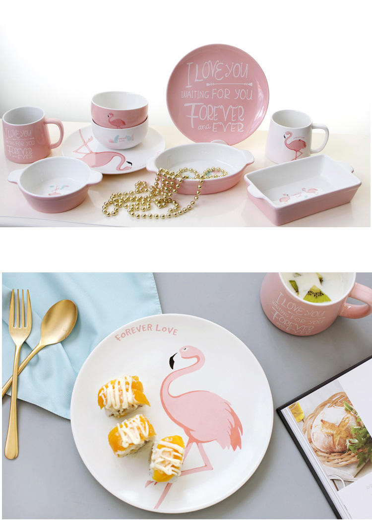 aeProduct.getSubject()  sc 1 st  AliExpress.com & 1pc Decorative Pink Flamingo Ceramics Dinnerware Set Dinner Bowl ...
