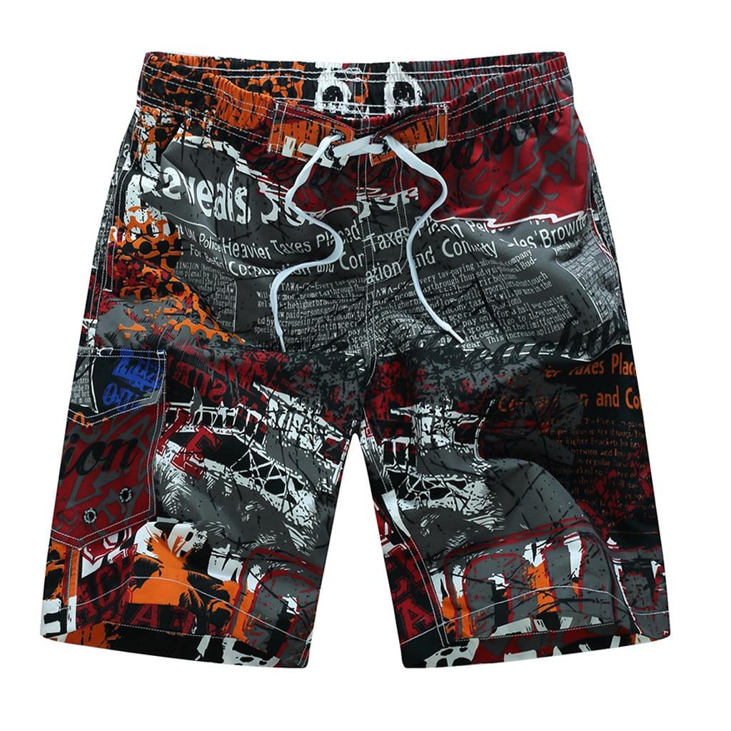 Swim Trunks Pants Loose-Shorts Surfing Beach Casual -Tx4 Patchwork Printing Men's Fashion