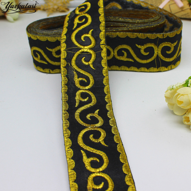 2 gold ribbon band iron on embroidered braid appliqued black gold