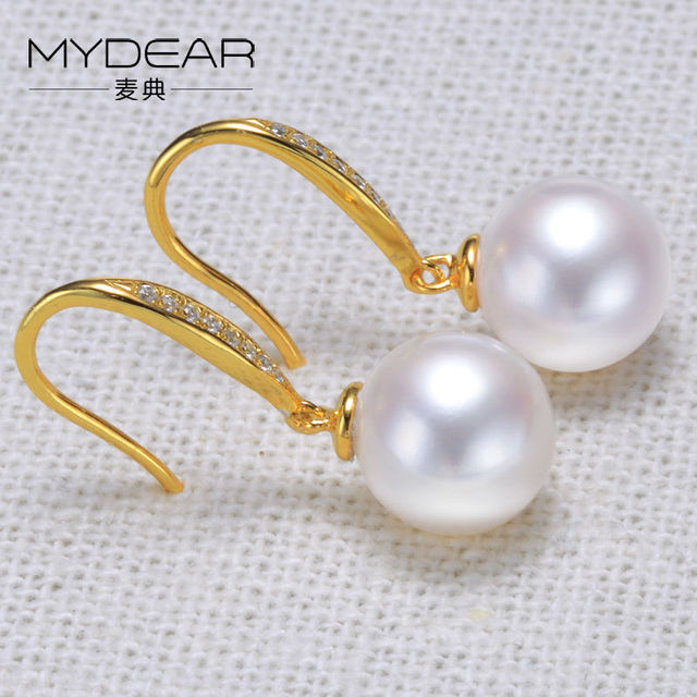 MYDEAR Real Gold Drop Earrings For Women Natural 10-10.5mm White Round Freshwater Pearls Earrings,Trendy Luxury Bijoux Mariage