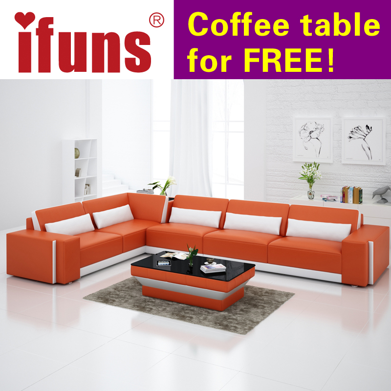 IFUNS Home Furniture Sectional Sofa In Leather Full Living Room Couches Recliners L Shape Quality Fr