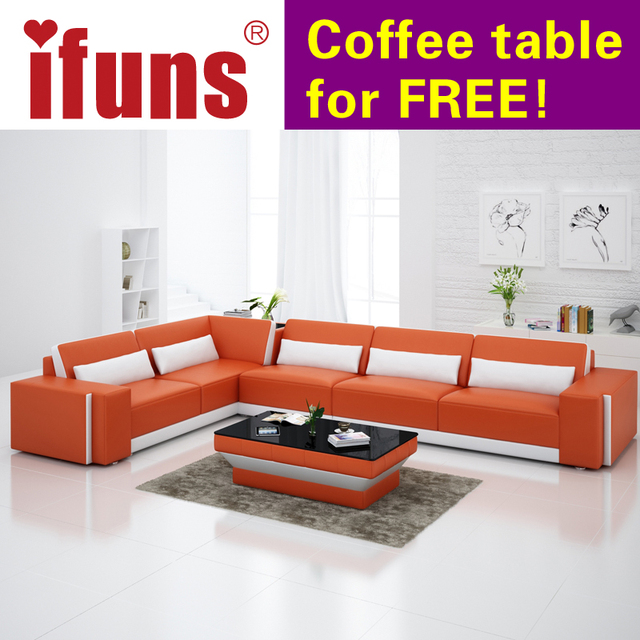 IFUNS Home Furniture Sectional Sofa In Leather Full Living Room Sectional  Couches Recliners L Shape Quality