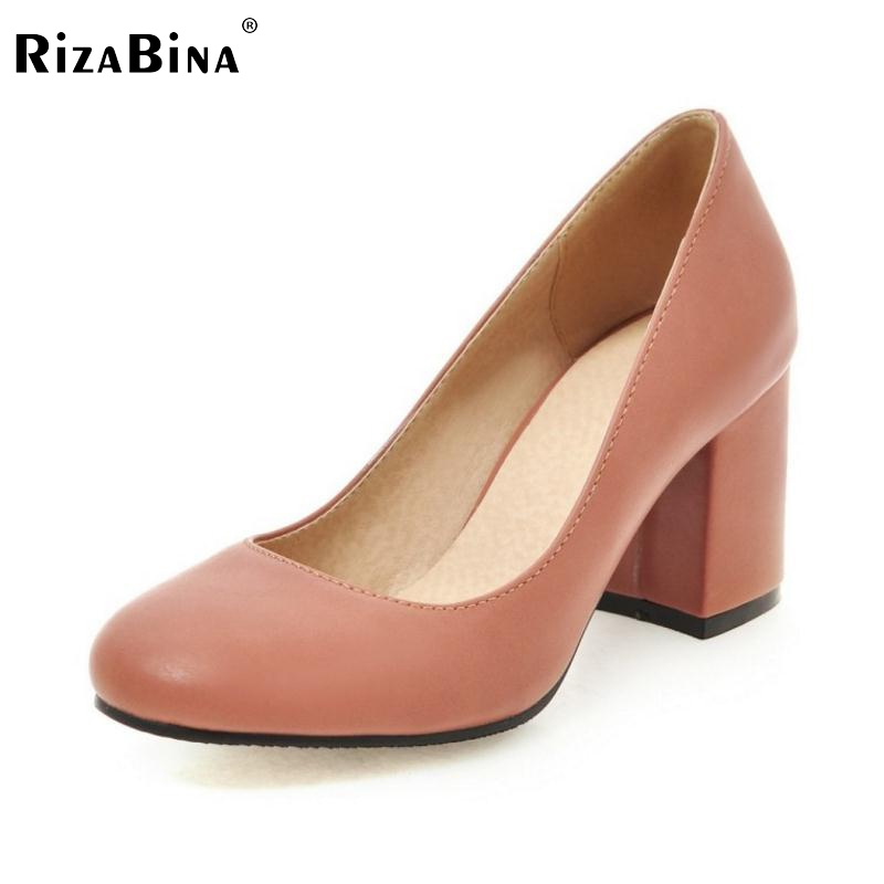 RizaBina Vintage Spring Women Pumps Slip-on High Heels Shoes Heeled Round Toe Ladies Shoes Zapatos Mujer Shoes Size 34-43 2017 shoes women med heels tassel slip on women pumps solid round toe high quality loafers preppy style lady casual shoes 17