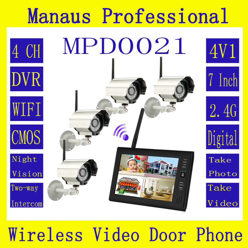7 Inch TFT Digital 2.4G Wireless Cameras Audio Video Baby Monitors 4CH Quad DVR Security System With IR Night Light Cameras D21a
