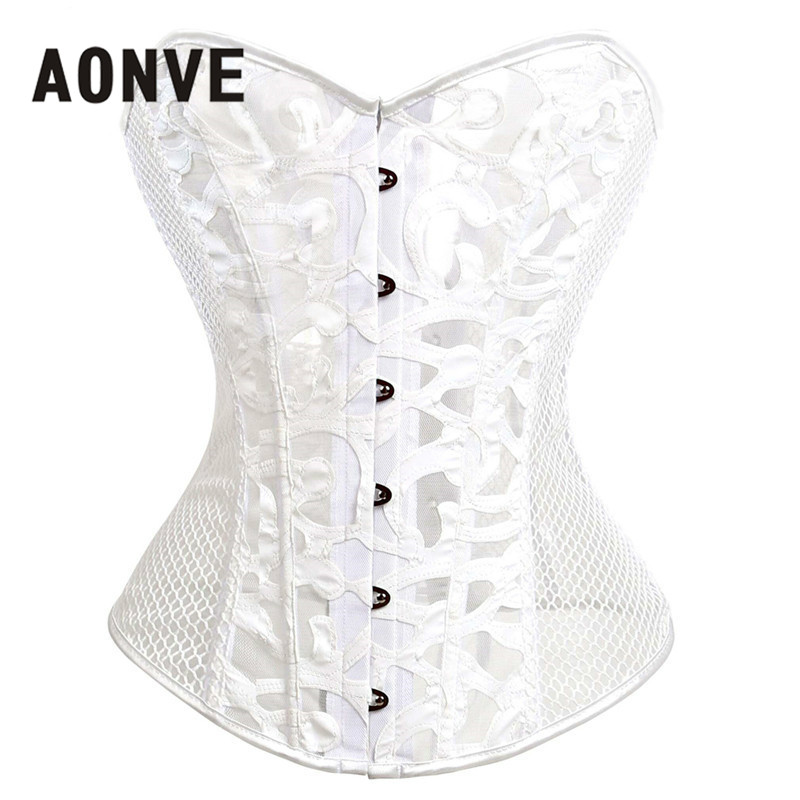 Gothic Corsets And Bustiers Mesh Hollow Out Steampunk Corset Belly Slimming Sheath Sexy Lingerie Corsage Bodice Straitjacket