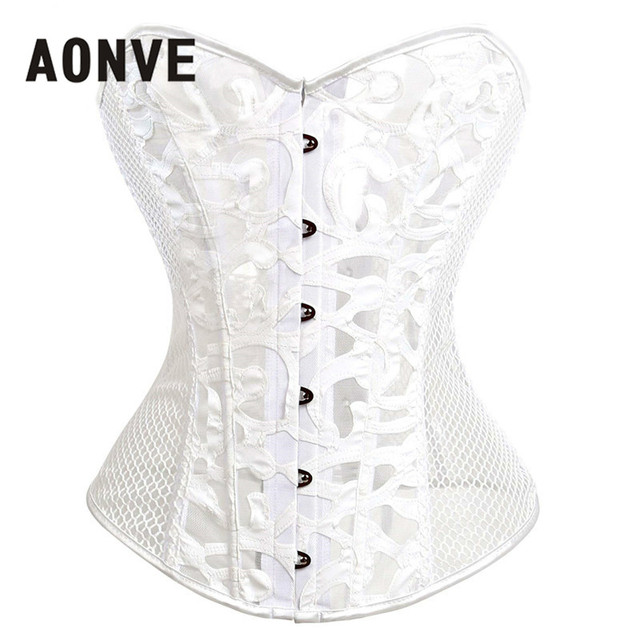 Gothic Corsets And Bustiers Mesh Hollow Out Steampunk Corset Belly Slimming  Sheath Sexy Lingerie Corsage Bodice Straitjacket 4365e99de