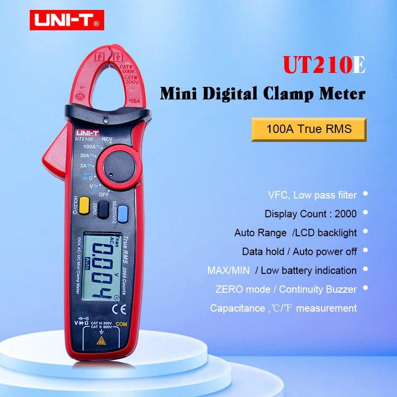 Mini Digital Clamp Meter UNI T UT210E True RMS Auto Range 2000 Count LCD Display Multimeters