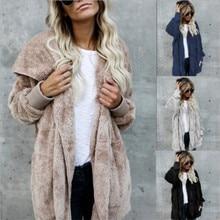 S-5XL Faux Fur Teddy Bear Coat Jacket Women Fashion Open Stitch Winter Hooded Co