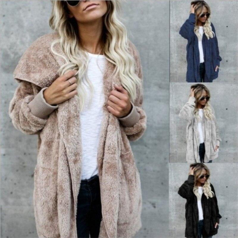 S-5XL casaco de pele do falso urso de pelúcia jaqueta feminina moda ponto aberto inverno com capuz casaco feminino manga longa fuzzy jacket 2018 quente novo
