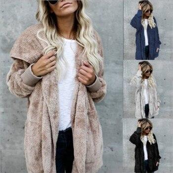 S-5XL piel sintética oso de peluche abrigo chaqueta mujer moda abierta puntada invierno abrigo con capucha mujer manga larga chaqueta difusa 2018 caliente nuevo