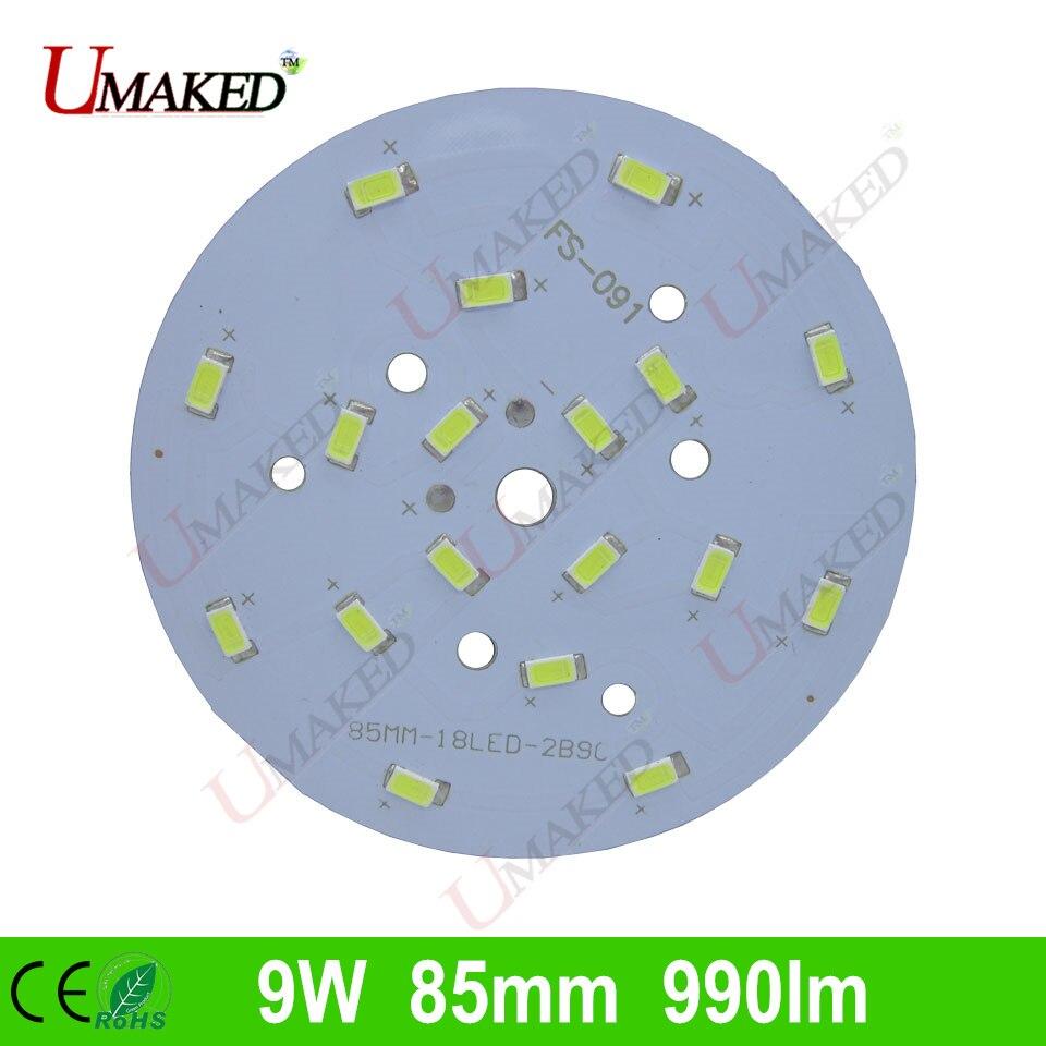 9W 85mm 990lm <font><b>LED</b></font> PCB with smd5730 chips installed, aluminum plate base for bulb light, ceiling light, <font><b>LED</b></font> lamps