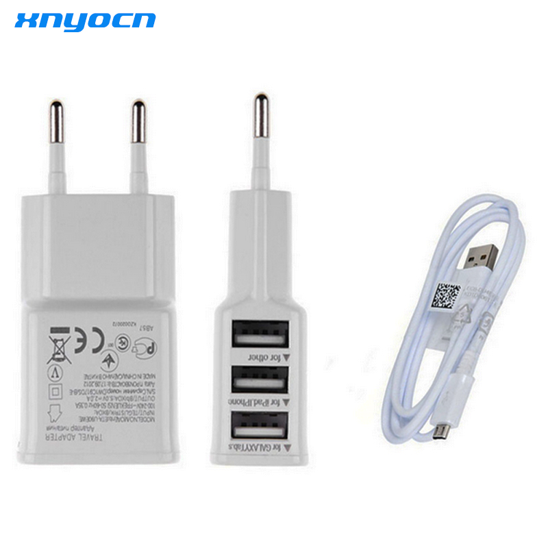 Universal Euro European 3 USB Port AC Power Wall Charger EU Plug Chargeur Travel Adapter untuk Samsung S6 S7 LG Etc atau Dengan Kabel