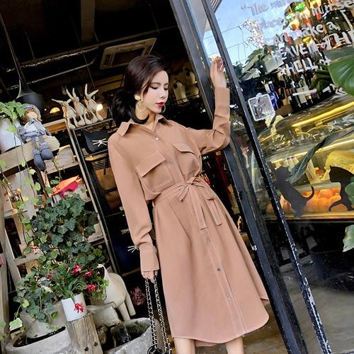 Robe Nouvelle Coréen Avec Bureau longueur Longues 2019 Printemps Travail Version Taille Manches Robes Chemise Mince Ol Mid j45LAR3
