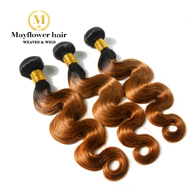 Mayflower Brazilian Body Wave T1B/30 Remy Human Hair Weft 1/2/3/4 Bundles From 12-24
