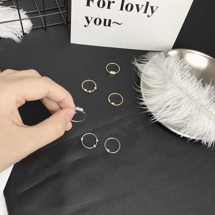 Set Ms. Wholesale Punk New Fashion Ring Personality Geometric Gold / Silver Texture Smooth Round Beads Three-piece Ring