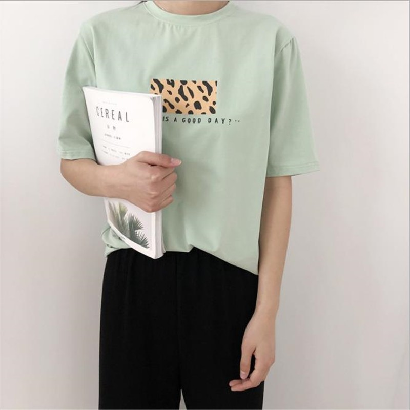 Women Leopard Letter Cotton T-shirt Fashion O Neck Short Sleeve Casual Loose 2019 New Tees
