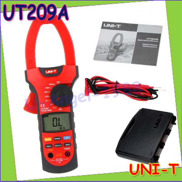1pcs UNI-T UT209A Digital Clamp meter digital Multimeter DMM AC DC Voltage Ampere Ohm Hz Tester 1000A Wholesale  цены