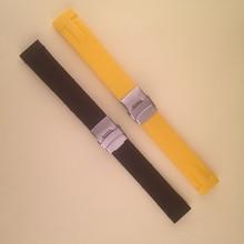 Nueva Llegada Reloj de Pulsera de Caucho de Silicona Correa fit T048417A con plata despliegue plegable de color Amarillo Negro 21 MM correa