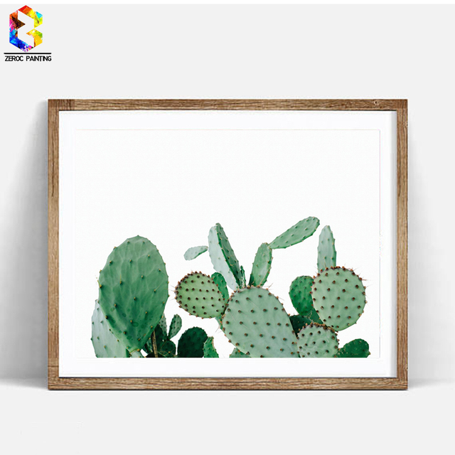 Succulent canvas art print painting minimalist cactus set for Minimalist art decor