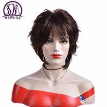 Msiwigs peruca curta para mulheres, cabelo sintético castanho escuro com franja ombré com destaques