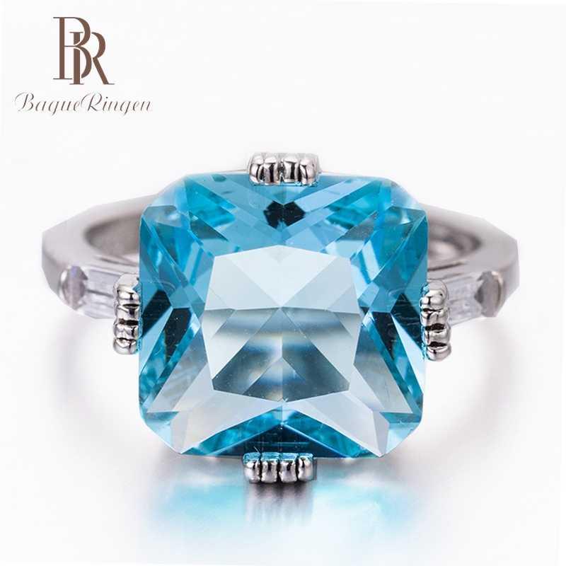 Bague Ringen คุณภาพสูง Sea Blue Mystic Topaz แหวนเงินแท้ 925 เครื่องประดับแหวนพลอยขนาด 6-10