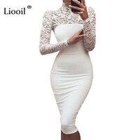섹시한 여성 흰색 레이스 드레스 새로운 2017 겨울 터틀넥 긴 소매 레드 블랙 클럽 공장 Bodycon 붕대 미디 파티 드레