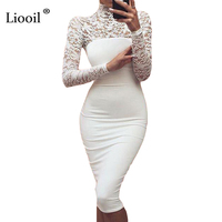 Sexy Women White Lace Dress New 2017 Winter Turtleneck Long Sleeve Red Black Club Factory Bodycon