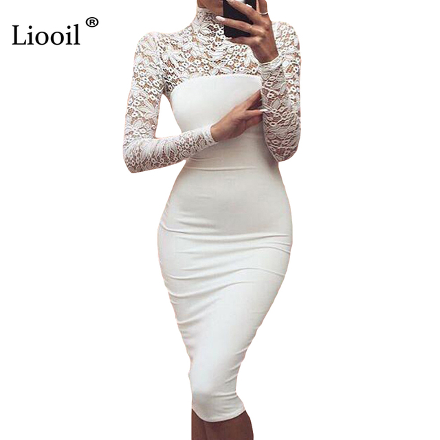 Sexy Women White Lace Dress New 2017 Winter Turtleneck Long Sleeve Red Black Club Factory Bodycon Bandage Midi Party Dresses