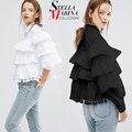 Новый 2017 Европейский Стильный Рубашки Для Женщин Блузки И Рубашки Слоистые Оборками Фонарь Рукав Черный Белый Очаровательная Рубашка Топы 1619