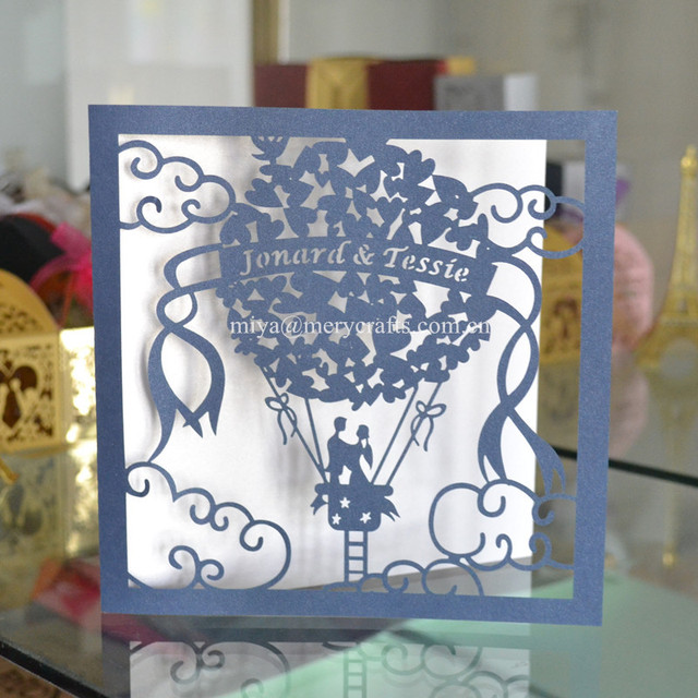 50x Personalised Fancy Paper For Invitations Turkey Style Hot Air Balloon Wedding