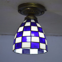 Tiffany Small Ceiling Light Mosaic Stained Glass Lampshade Mediterranean Sea Home Light Fixture E27 110 240V