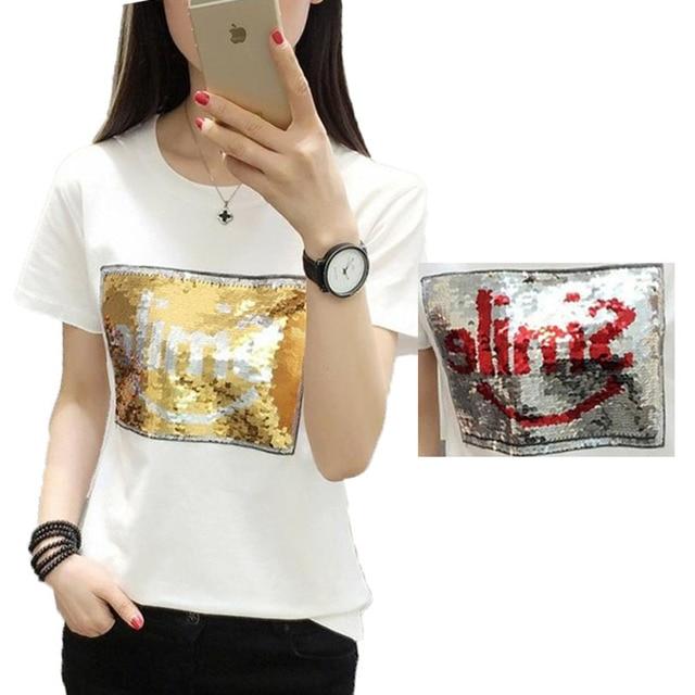 Chic Woman Graffiti Reversible Sequins Smi le Letters beads shirt magical  color changing sequins Tees 1de4a61c9b80