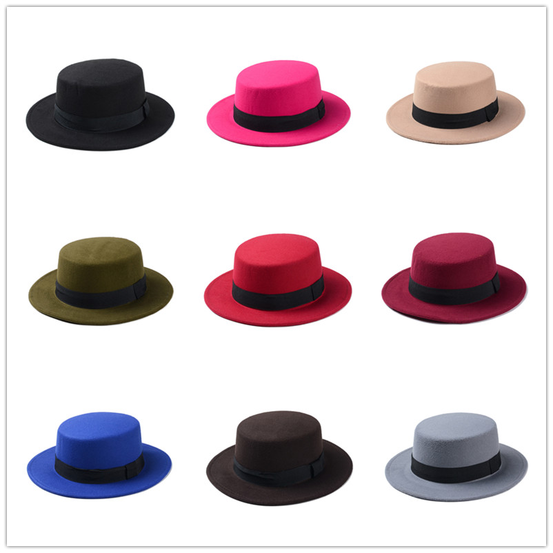 Brand New Wool Boater Flat Top Hat For Women's Felt Wide Brim Fedora Hat Laday Prok Pie Chapeu de Feltro Bowler Gambler Top Hat
