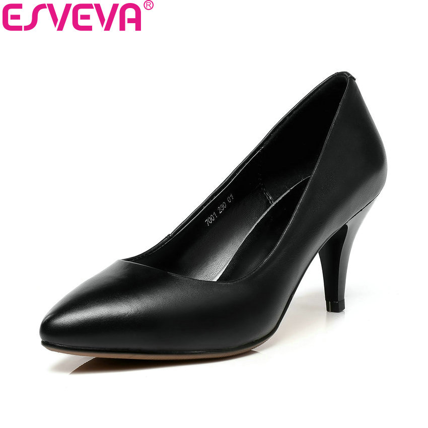 ESVEVA 2018 All Match Women Pumps Shoes Pointed Toe Slip on Simple Spring and Autumn Thin High Heels Women Shoes Size 34-41 esveva 2018 women pumps shoes slip on thin super high heels spring and autumn peep toe platform 5 5cm women shoes size 34 43