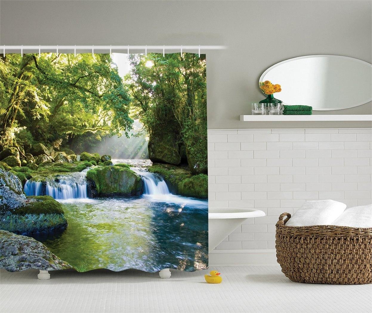 Rainforest shower curtain - Memory Home Rainforest Waterfall Decor Shower Curtain Mountains Mossy Rocks Print Polyester Fabric Bathroom Decor Set