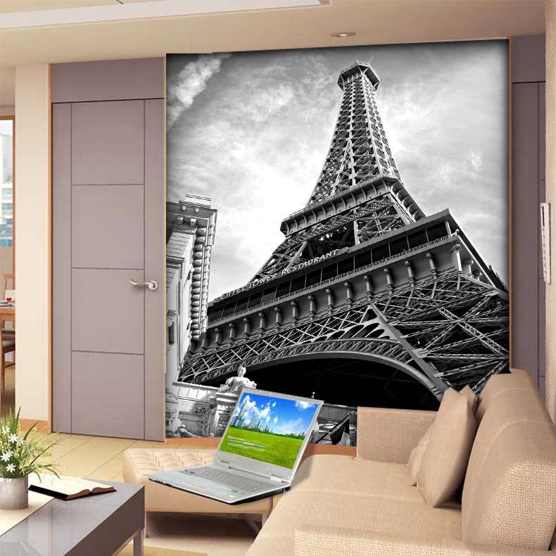 8D Black&white Eiffel Tower 3D wall mural Wall paper Papel murals for sofa background Living Room 3d wallpaper 3d photo murals custom photo wallpaper 3d wall murals balloon shell seagull wallpapers landscape murals wall paper for living room 3d wall mural