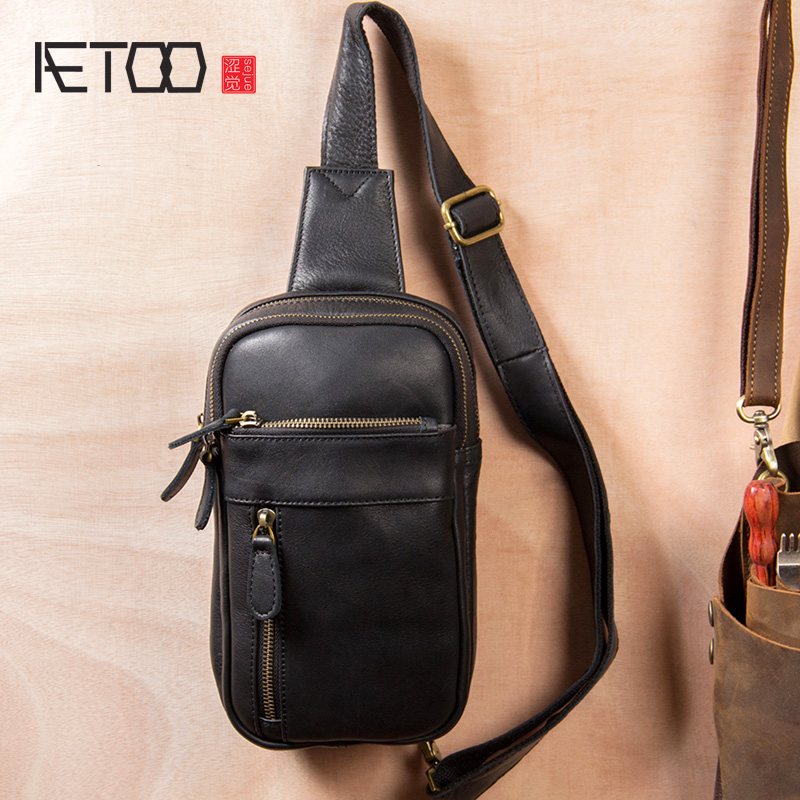 AETOO Men's one-shoulder slanted bag, leather chest bag, personality casual tide men's bag(China)