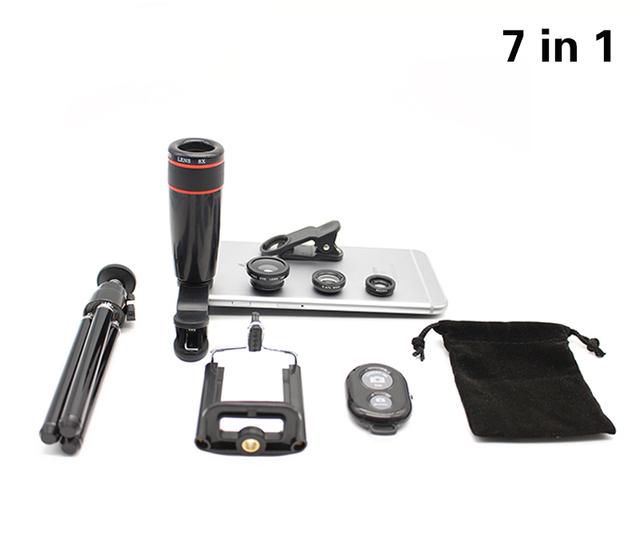 7in1 nuevo Telescopio Del Zumbido 8x Lupa Teléfono 3in1 Lente Lentes de ojo de Pez Lente De La Cámara Giratoria Soporte de Montaje de Trípode Obturador Bluetooth