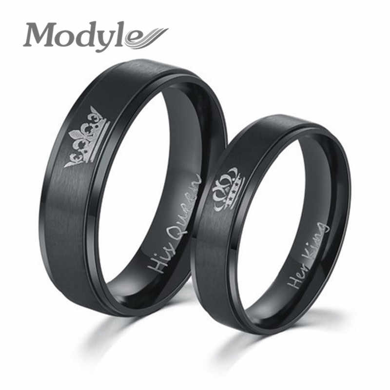 Modyle 2018 New Fashion DIY Couple Jewelry Her King and His Queen Stainless Steel Wedding Rings for Women Men