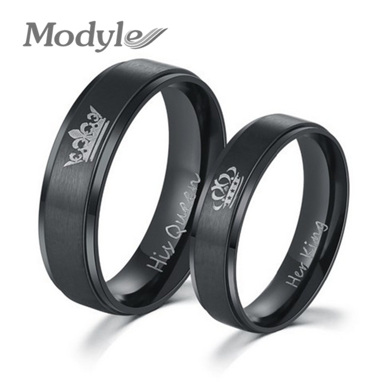 Modyle 2017 New Fashion Her King and His Queen Stainless Steel Wedding Rings for Women Men gold earrings for women