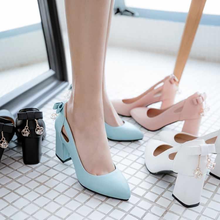 Ukuran Besar 11 12 13 Wanita Sepatu Hak Tinggi Sepatu Wanita Pompa Dangkal Mulut Tumit Kasar Logam Dekorasi Menunjuk Ikatan Simpul