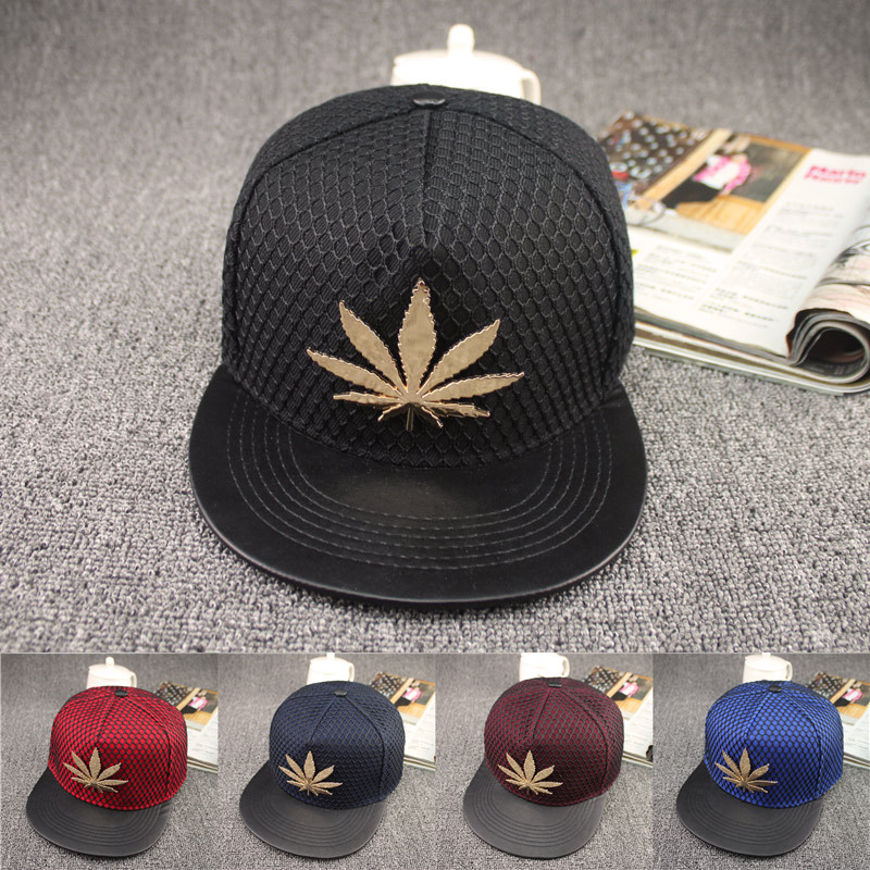 2019 New European And American Maple Leaf Flat Net Cap Street Hipster Hip Hop Hat Hip-hop Skateboard Caps Fashon Snapback Hats