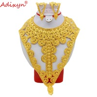 Adixyn Dubai Big Heavy Necklace/Earrings Jewelry Sets Gold Color Jewelry for Womens African Bride Wedding Party Gift N09062