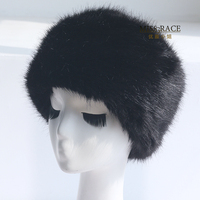Black Fox Fur Faux Fur Hat Leather Pocket Strawhat Warm Hat Winter Women S Snow Cap