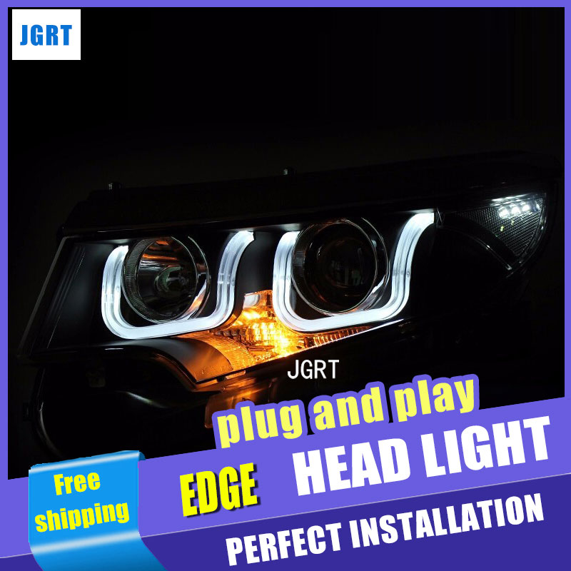 Car Styling LED Head Lamp for Ford Edge headlight assembly 13-14 edge led headlight projector headlight H7 with hid kit 2pcs. rockeybright 1set all in one n1 h7 led headlight fog head lamp kit with 2pcs h7 led adapter for the new jetta for the new bora
