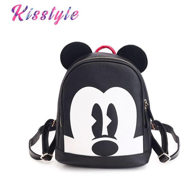 47fe4c624631 Kisstyle Fashion Girls Mickey Backpack PU Leather Female Mini School Bag  Preppy Style Cartoon Women Backpacks Casual Bagpack