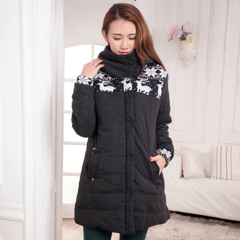 2018 new snow deer printed winter coats jacket clothes for pregnant women pregnancy plus size XXL casual clothing outwear C45 цена