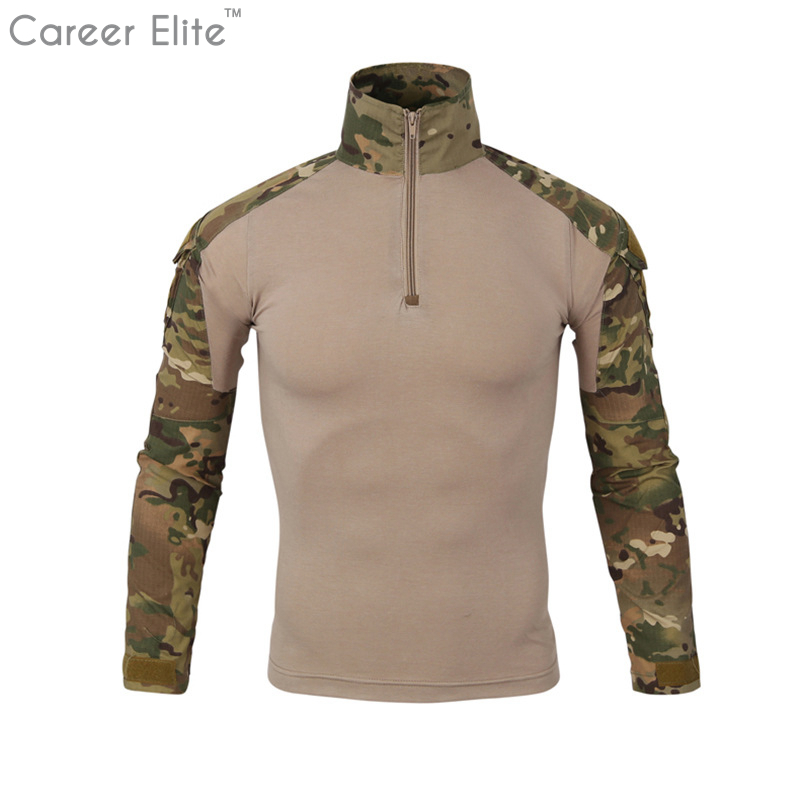 Man Multi Cam Camouflage Man's T shirt Army Camo Combat Tactical Men T Shirt For Men Military Male Long Sleeve Tee Shirt Homme