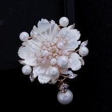 Aspecto impresionante blanco madre de la flor de la perla broches cz marquesa rose chapado en oro pistilo flor del ciruelo floral pins joyería de la vendimia