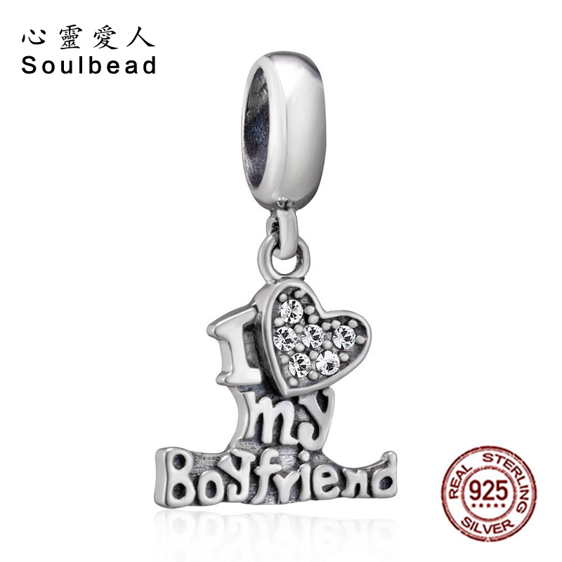 Systematic Soulbead 925 Sterling Silver Austrian Crystal I Love My Boyfriend Charms Fit Pandora Bracelet For Valentines Day Gift Cws0173 Relieving Rheumatism And Cold Jewelry & Accessories Beads & Jewelry Making